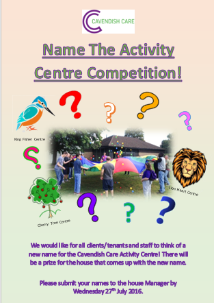 Name our Activity Centre Competition Winner